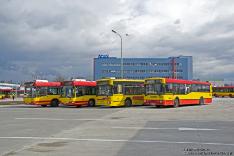 Volvo 7000A #8057, Volvo 7000A #8101, Jelcz M181M #8501 i Jelcz M121M #9563