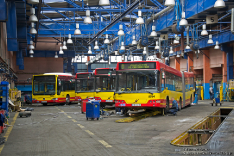 Mercedes-Benz O530 #7344, Volvo 7700 #7027, Volvo 7700A #8134 i Volvo 7000A #8094
